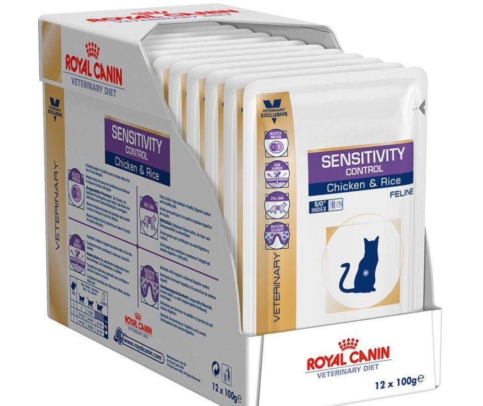 Royal Canin Sensitivity Control S/O рекомендуется применять, если у кошки имеется чувствительность к определенным продуктам, пищевая непереносимость