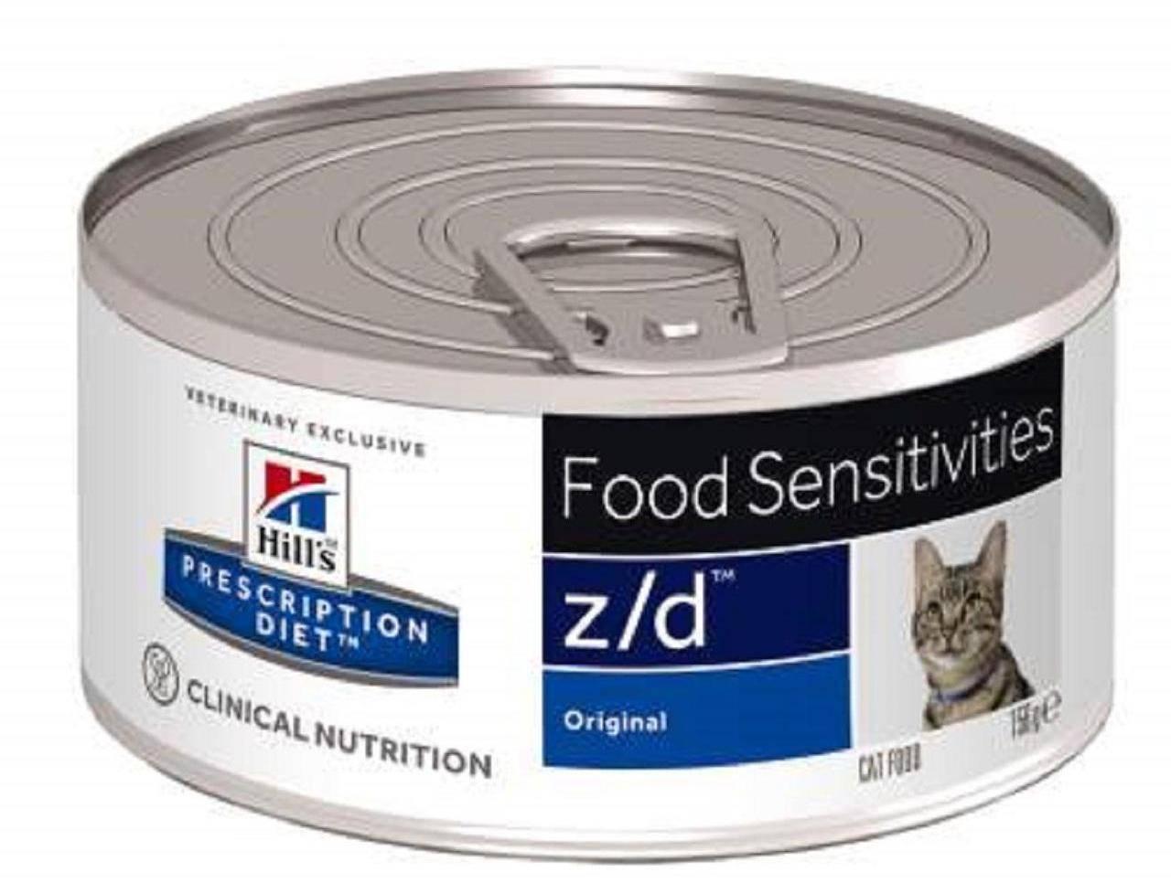Hills Feline z/d можно применять при острых пищевых аллергиях