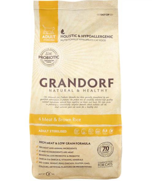 Grandorf гипоаллергенный, 4 мяса с бурым рисом для стерилизованных кошек